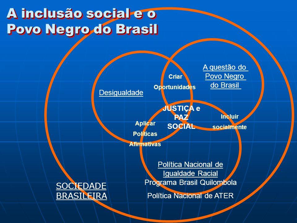 A questão do Povo Negro do Brasil Desigualdade Política Nacional de Igualdade Racial Programa Brasil Quilombola Política Nacional de ATER SOCIEDADE BR