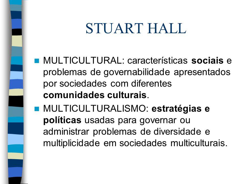 STUART HALL MULTICULTURAL: características sociais e problemas de governabilidade apresentados por sociedades com diferentes comunidades culturais. MU