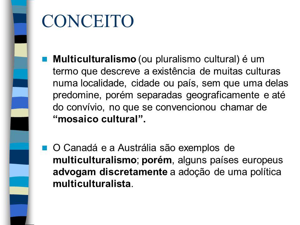 CONCEITO Multiculturalismo (ou pluralismo cultural) é um termo que descreve a existência de muitas culturas numa localidade, cidade ou país, sem que u