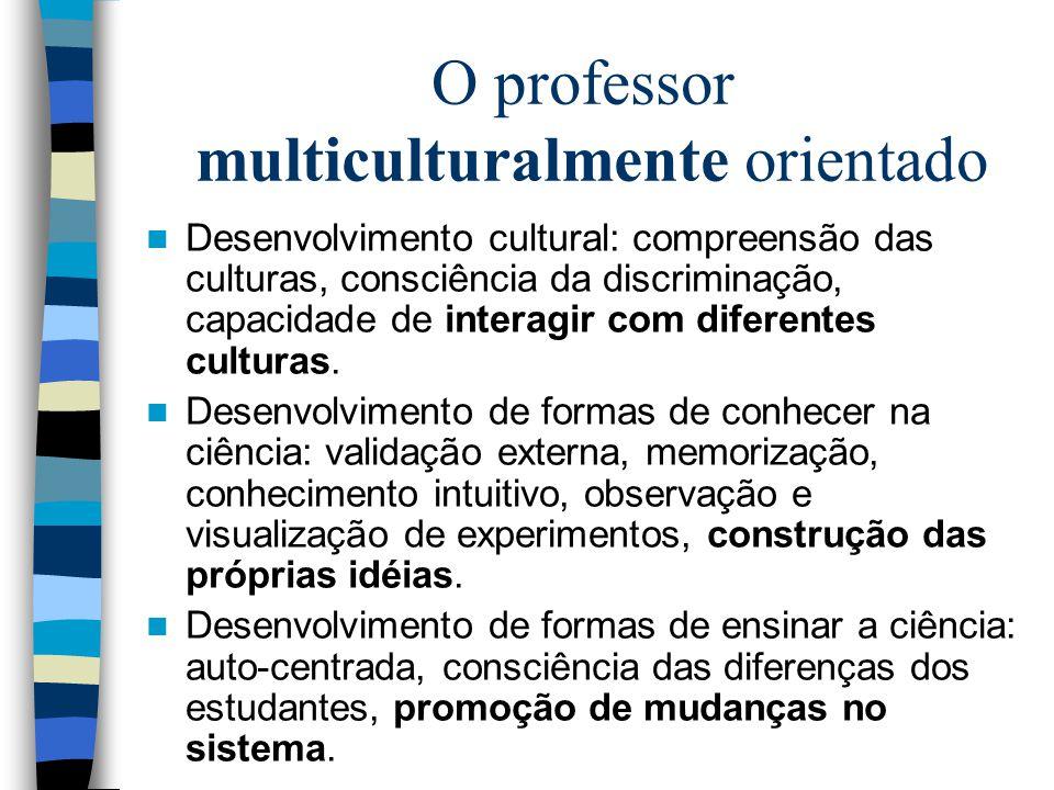 O professor multiculturalmente orientado Desenvolvimento cultural: compreensão das culturas, consciência da discriminação, capacidade de interagir com