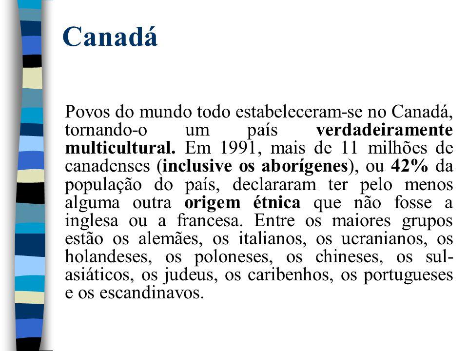 Canadá Povos do mundo todo estabeleceram-se no Canadá, tornando-o um país verdadeiramente multicultural. Em 1991, mais de 11 milhões de canadenses (in