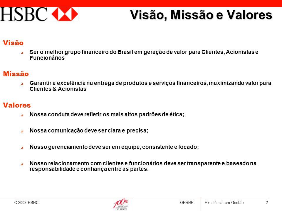 © 2003 HSBCQHBBRExcelência em Gestão 2 Visão, Missão e Valores Visão  Ser o melhor grupo financeiro do Brasil em geração de valor para Clientes, Acio