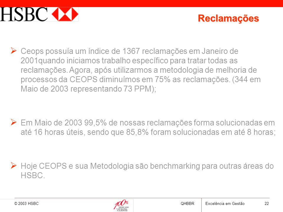 © 2003 HSBCQHBBRExcelência em Gestão 22 Reclamações   Ceops possuía um índice de 1367 reclamações em Janeiro de 2001quando iniciamos trabalho especí