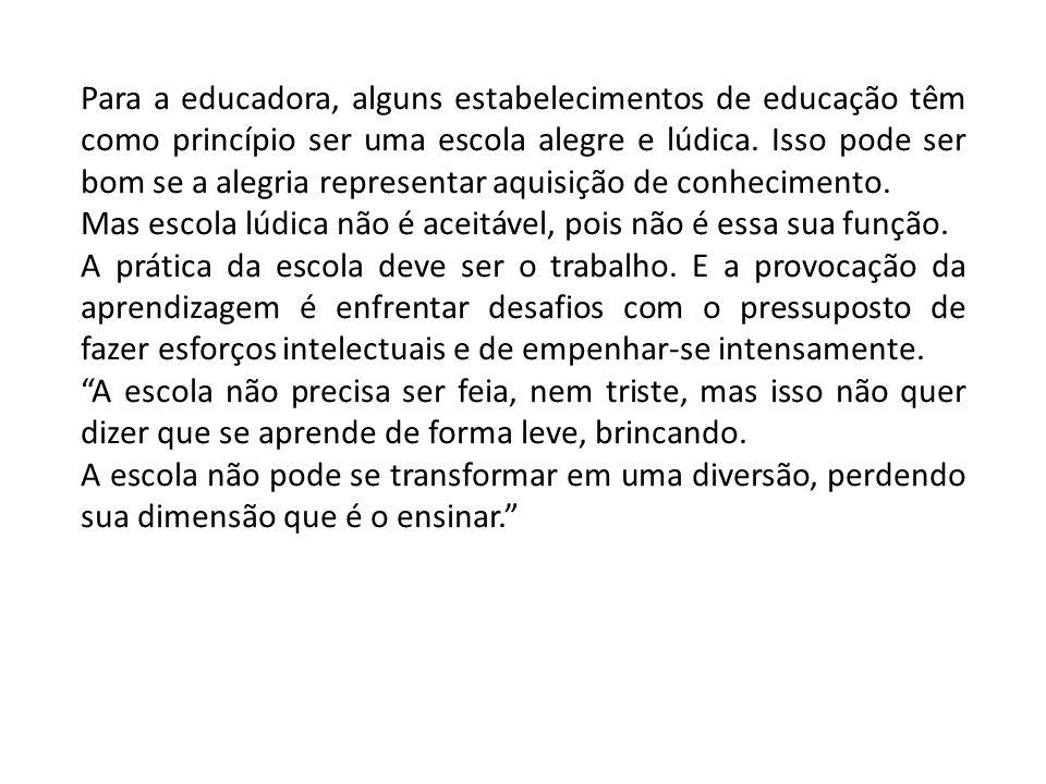 Para a educadora, alguns estabelecimentos de educação têm como princípio ser uma escola alegre e lúdica.