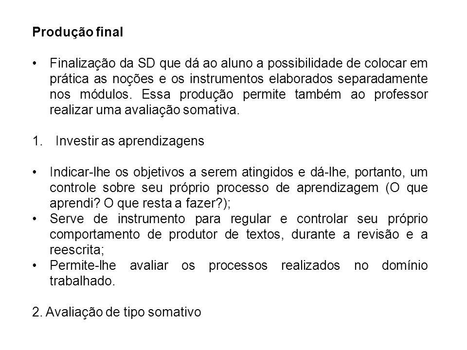 Produção final Finalização da SD que dá ao aluno a possibilidade de colocar em prática as noções e os instrumentos elaborados separadamente nos módulos.