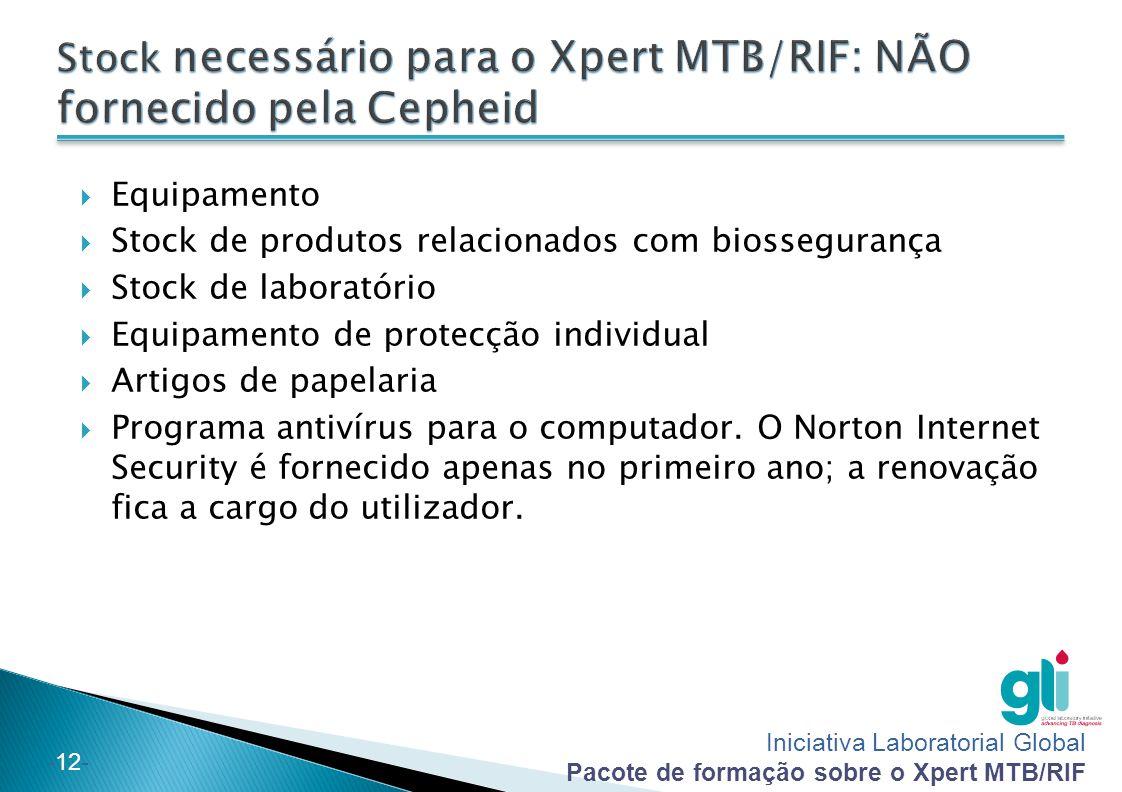 Iniciativa Laboratorial Global Pacote de formação sobre o Xpert MTB/RIF -12-  Equipamento  Stock de produtos relacionados com biossegurança  Stock