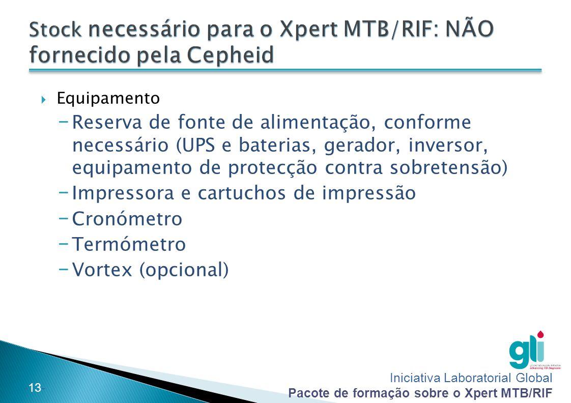 Iniciativa Laboratorial Global Pacote de formação sobre o Xpert MTB/RIF -13-  Equipamento − Reserva de fonte de alimentação, conforme necessário (UPS