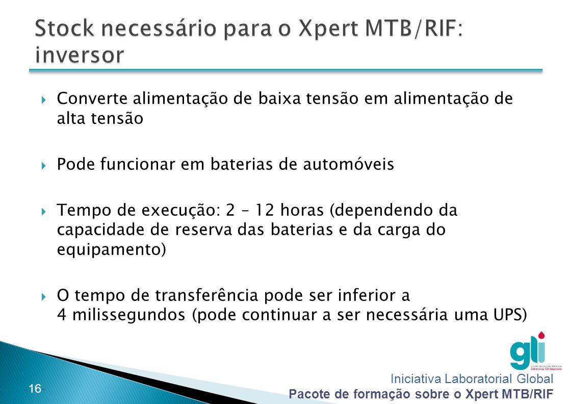 Iniciativa Laboratorial Global Pacote de formação sobre o Xpert MTB/RIF -16-  Converte alimentação de baixa tensão em alimentação de alta tensão  Po