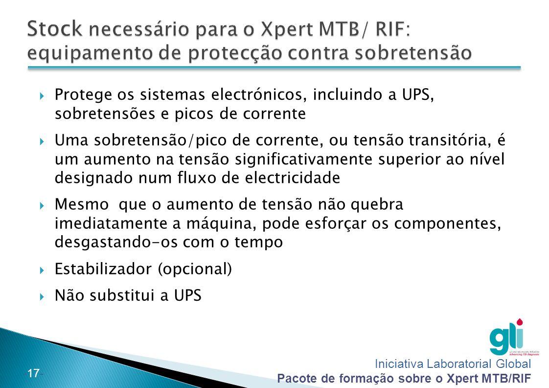 Iniciativa Laboratorial Global Pacote de formação sobre o Xpert MTB/RIF -17-  Protege os sistemas electrónicos, incluindo a UPS, sobretensões e picos