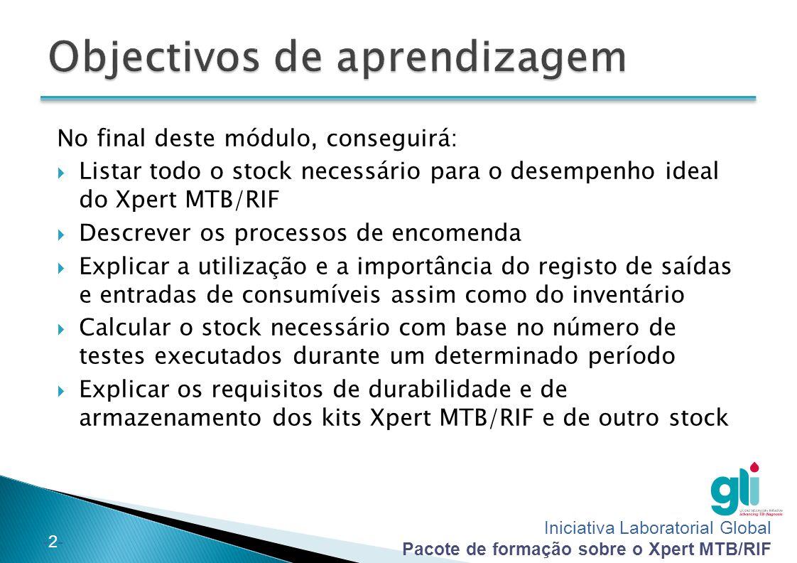 Iniciativa Laboratorial Global Pacote de formação sobre o Xpert MTB/RIF -2--2- No final deste módulo, conseguirá:  Listar todo o stock necessário par