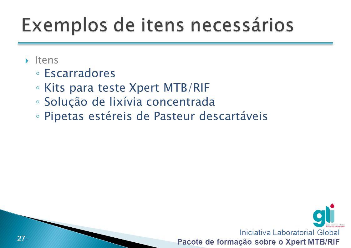 Iniciativa Laboratorial Global Pacote de formação sobre o Xpert MTB/RIF -27-  Itens ◦ Escarradores ◦ Kits para teste Xpert MTB/RIF ◦ Solução de lixív