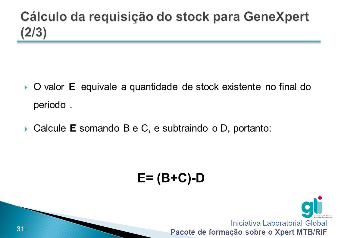Iniciativa Laboratorial Global Pacote de formação sobre o Xpert MTB/RIF -31-  O valor E equivale a quantidade de stock existente no final do periodo.