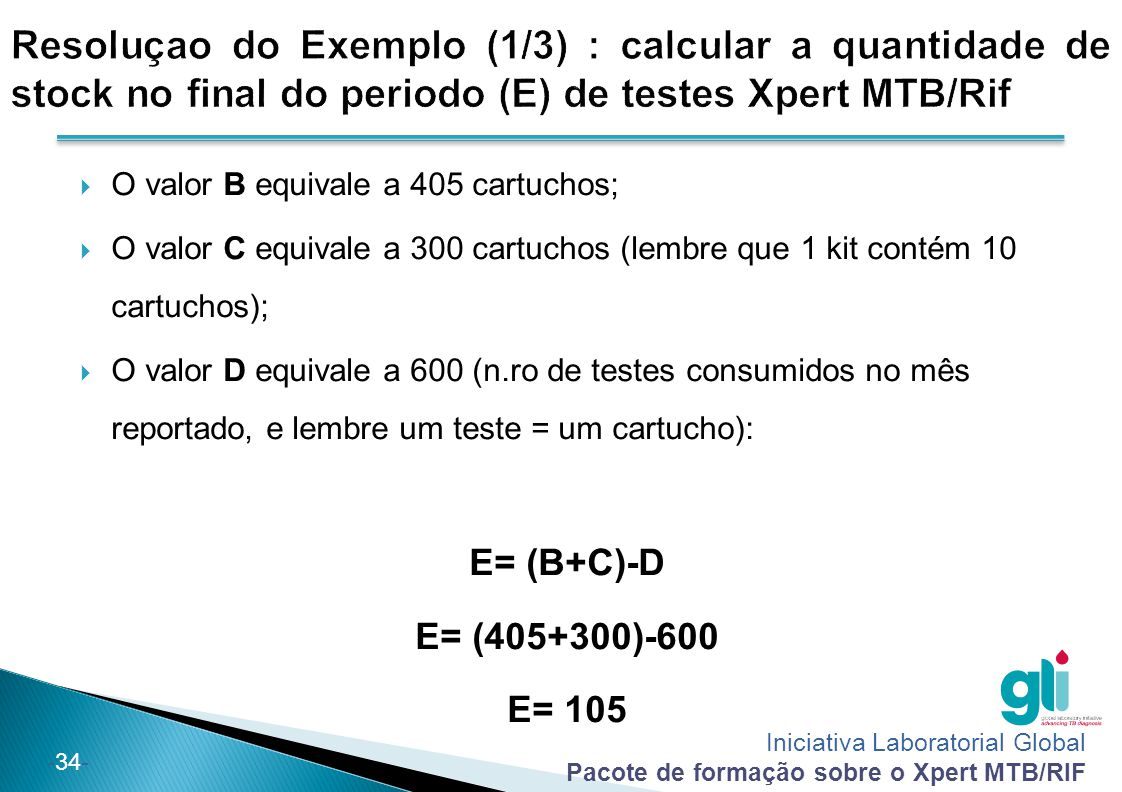 Iniciativa Laboratorial Global Pacote de formação sobre o Xpert MTB/RIF -34-  O valor B equivale a 405 cartuchos;  O valor C equivale a 300 cartucho
