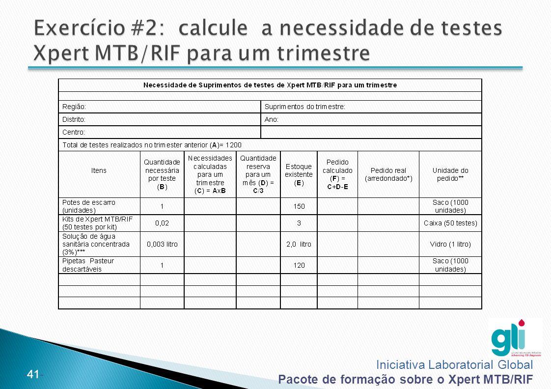 Iniciativa Laboratorial Global Pacote de formação sobre o Xpert MTB/RIF -41-