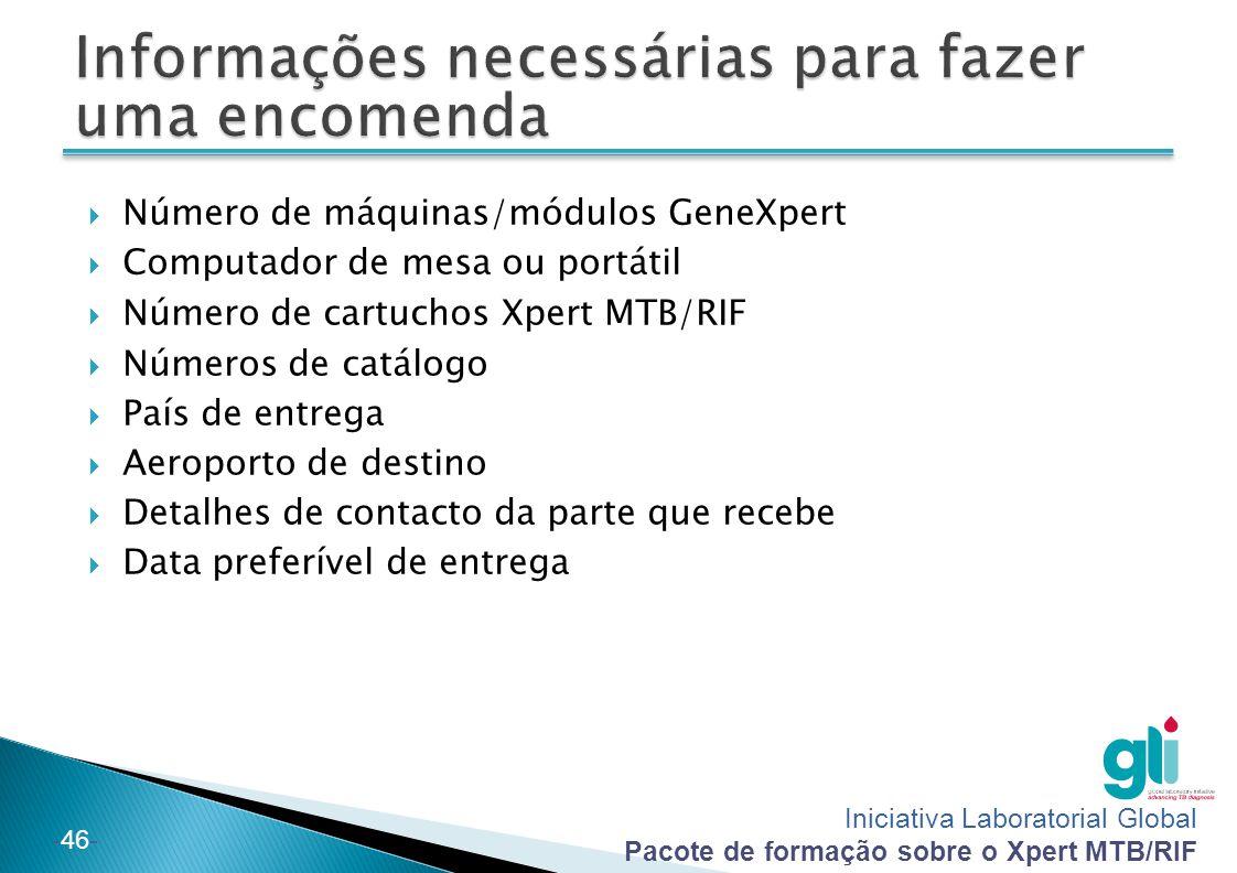Iniciativa Laboratorial Global Pacote de formação sobre o Xpert MTB/RIF -46-  Número de máquinas/módulos GeneXpert  Computador de mesa ou portátil 