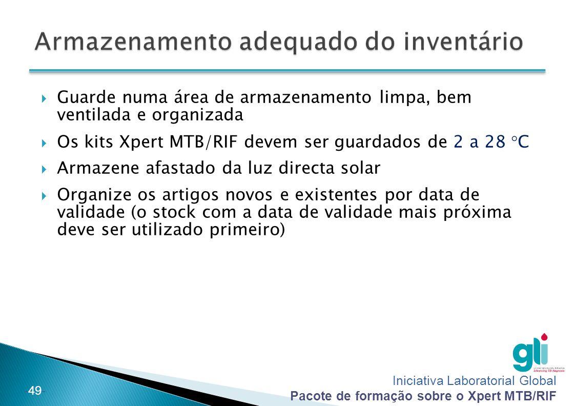 Iniciativa Laboratorial Global Pacote de formação sobre o Xpert MTB/RIF -49-  Guarde numa área de armazenamento limpa, bem ventilada e organizada  O