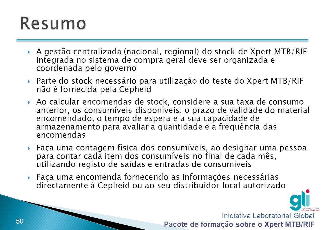 Iniciativa Laboratorial Global Pacote de formação sobre o Xpert MTB/RIF -50-  A gestão centralizada (nacional, regional) do stock de Xpert MTB/RIF in