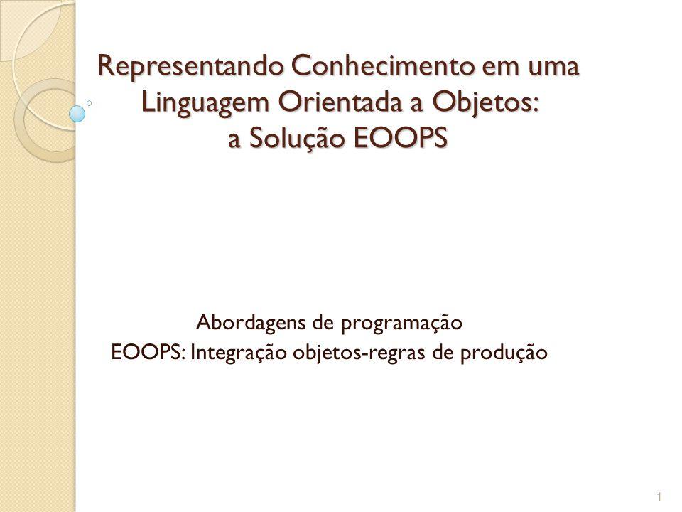 Representando Conhecimento em uma Linguagem Orientada a Objetos: a Solução EOOPS Abordagens de programação EOOPS: Integração objetos-regras de produção 1