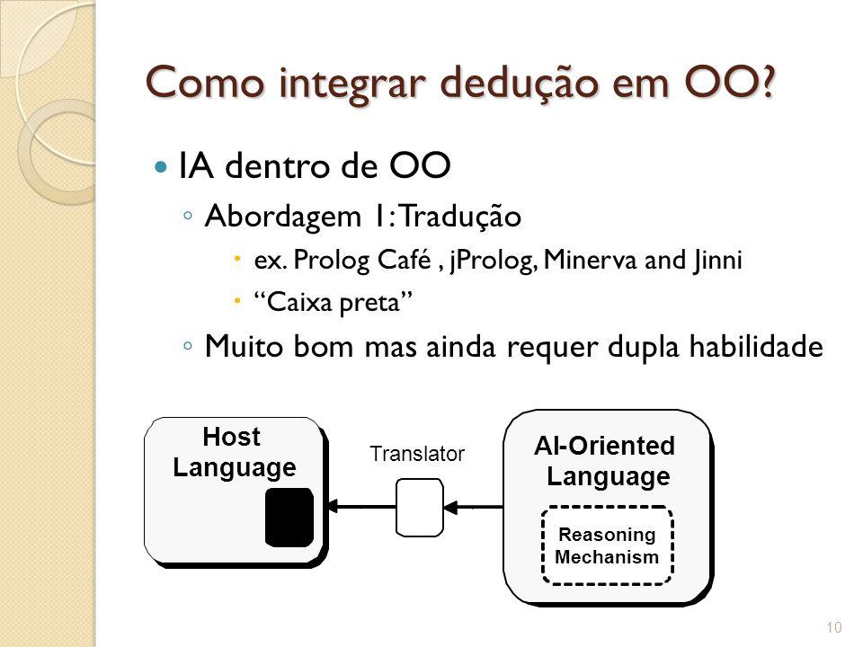 Como integrar dedução em OO. IA dentro de OO ◦ Abordagem 1: Tradução  ex.
