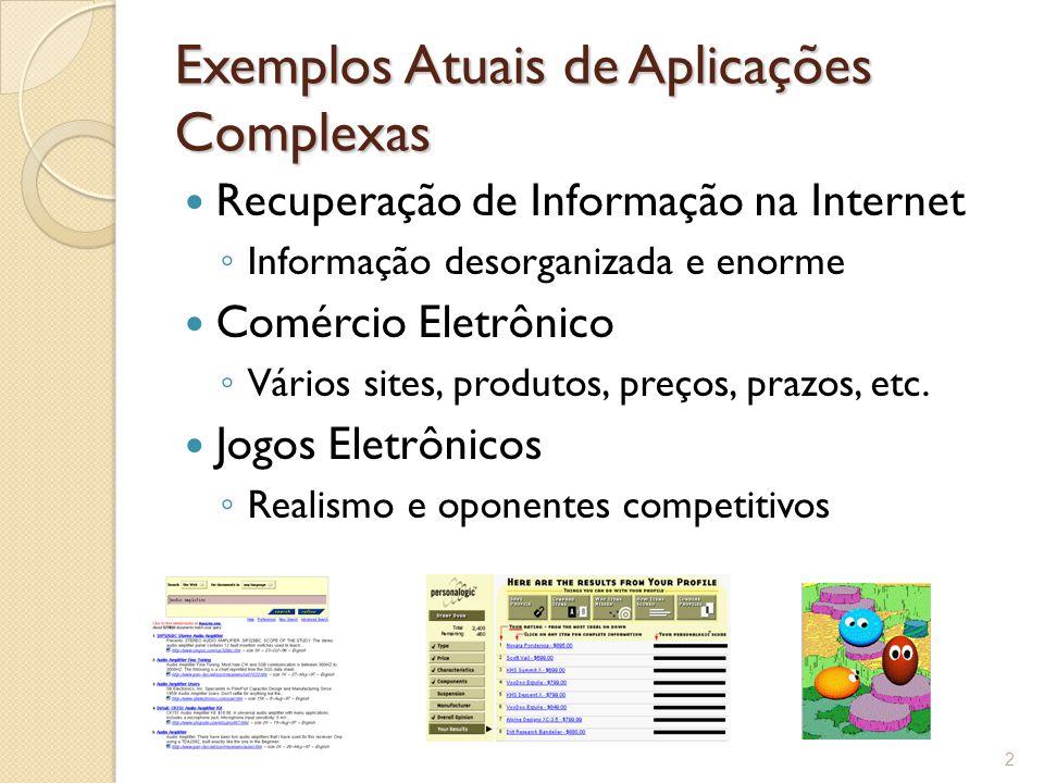Exemplos Atuais de Aplicações Complexas Recuperação de Informação na Internet ◦ Informação desorganizada e enorme Comércio Eletrônico ◦ Vários sites, produtos, preços, prazos, etc.