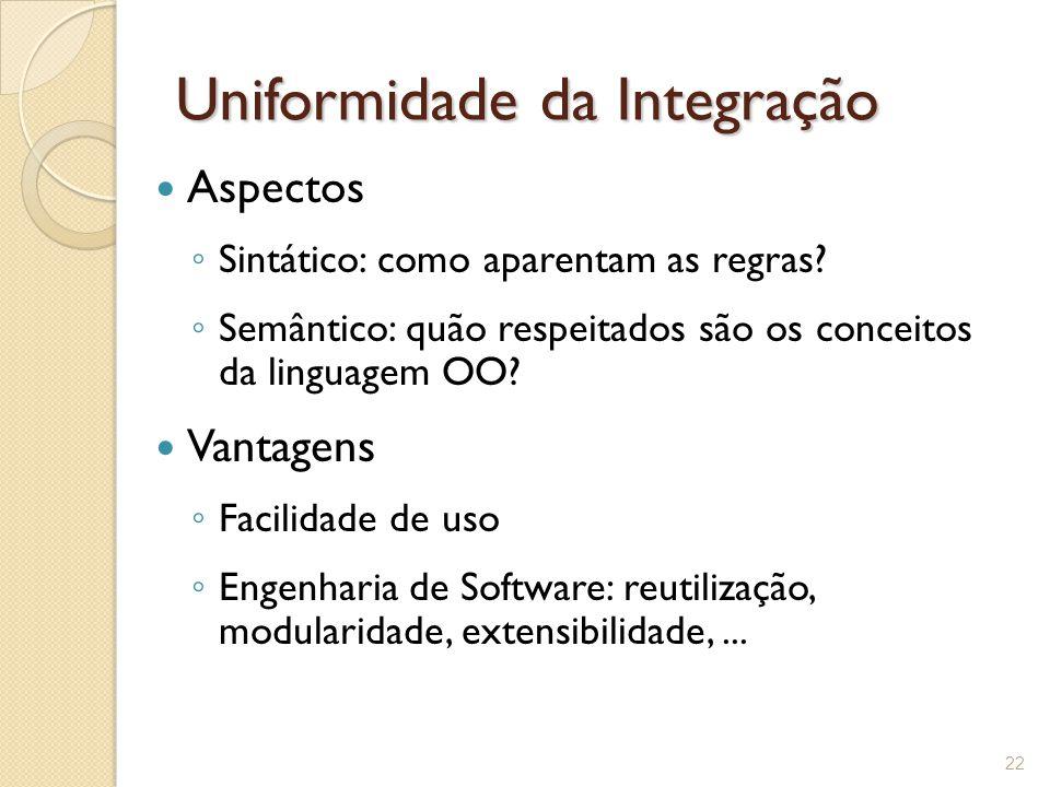 Uniformidade da Integração Aspectos ◦ Sintático: como aparentam as regras.