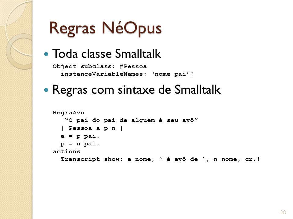 Regras NéOpus Toda classe Smalltalk Regras com sintaxe de Smalltalk 28 RegraAvo O pai do pai de alguém é seu avô | Pessoa a p n | a = p pai.
