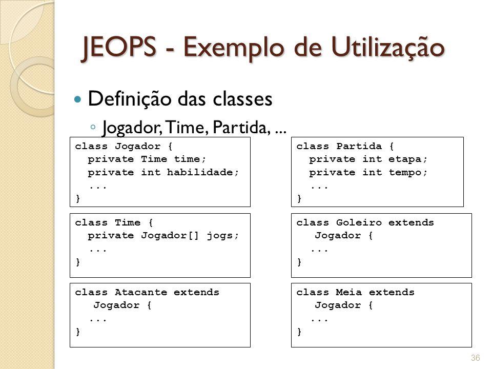 JEOPS - Exemplo de Utilização Definição das classes ◦ Jogador, Time, Partida,...