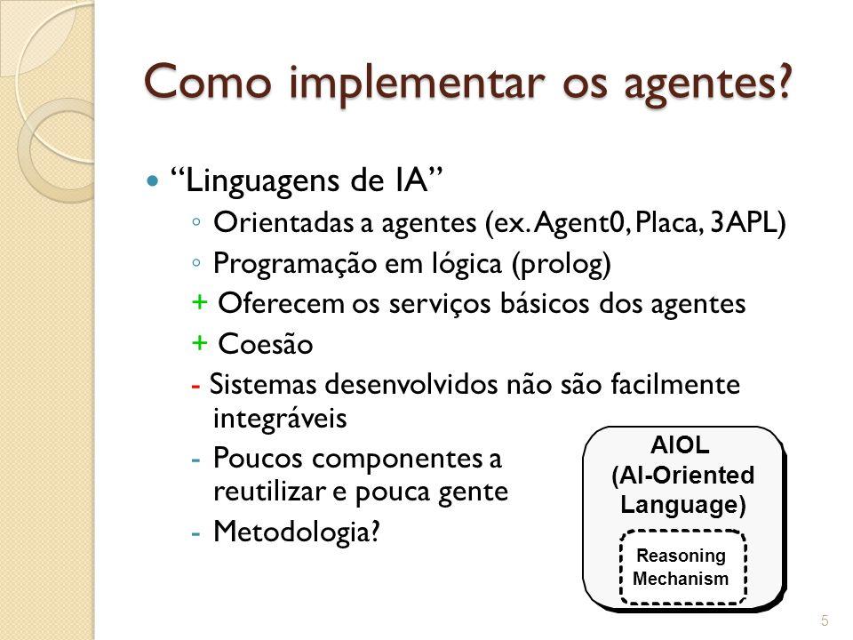 Como implementar os agentes.Linguagens orientadas a objetos ◦ Java, C++,...