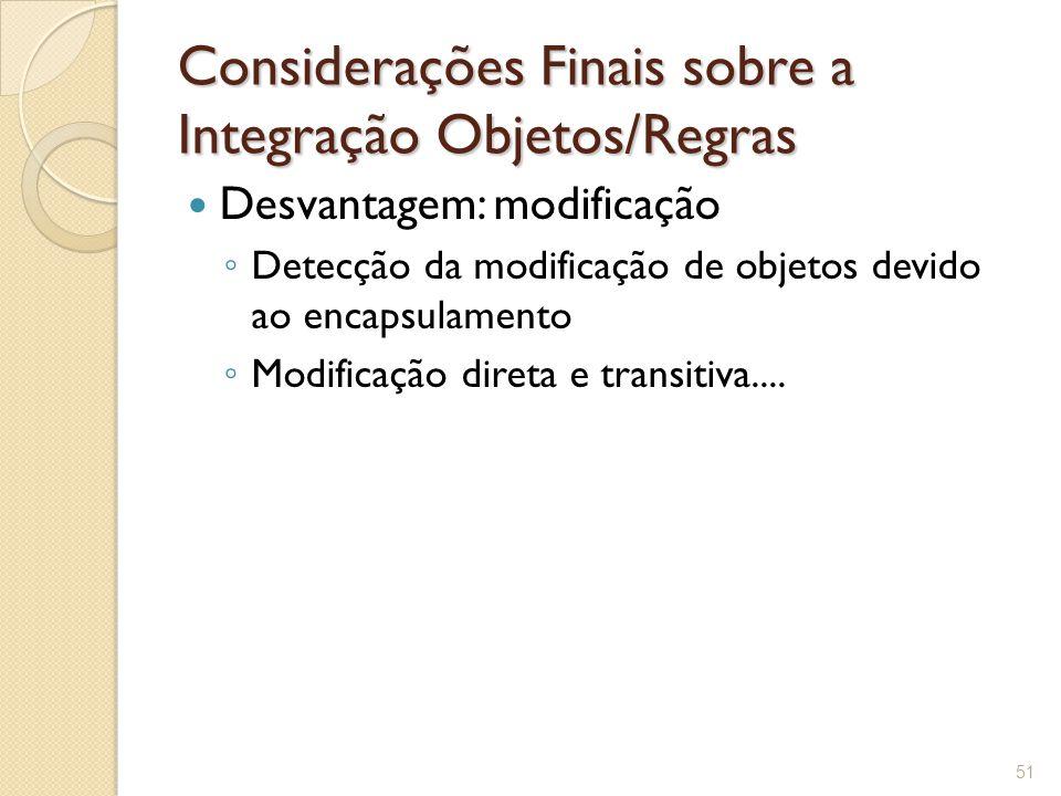 Considerações Finais sobre a Integração Objetos/Regras Desvantagem: modificação ◦ Detecção da modificação de objetos devido ao encapsulamento ◦ Modificação direta e transitiva....