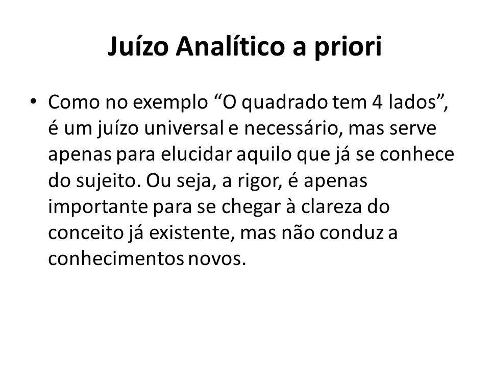 """Juízo Analítico a priori Como no exemplo """"O quadrado tem 4 lados"""", é um juízo universal e necessário, mas serve apenas para elucidar aquilo que já se"""