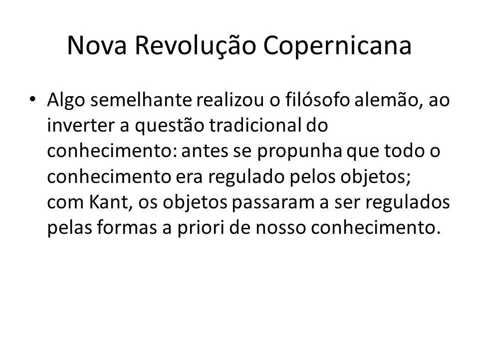 Nova Revolução Copernicana Algo semelhante realizou o filósofo alemão, ao inverter a questão tradicional do conhecimento: antes se propunha que todo o