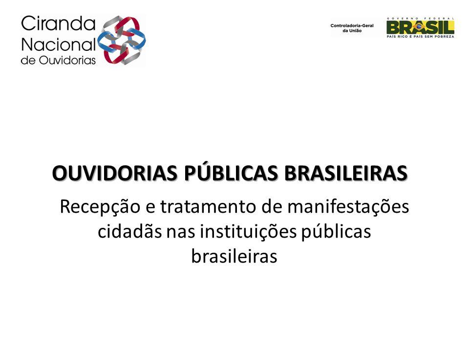 OUVIDORIAS PÚBLICAS BRASILEIRAS Recepção e tratamento de manifestações cidadãs nas instituições públicas brasileiras