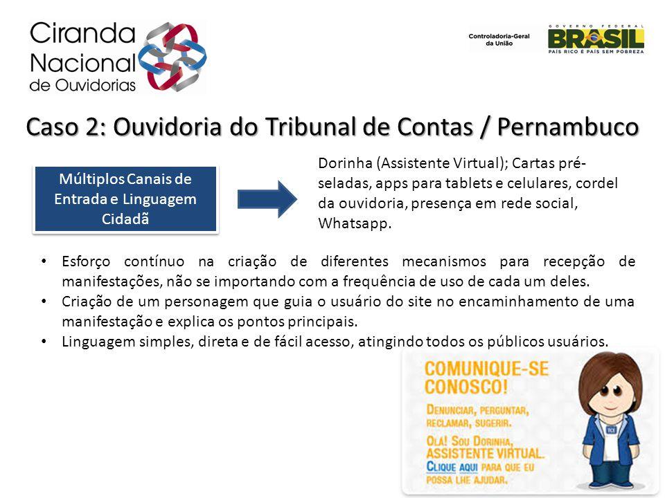 Múltiplos Canais de Entrada e Linguagem Cidadã Caso 2: Ouvidoria do Tribunal de Contas / Pernambuco Dorinha (Assistente Virtual); Cartas pré- seladas,