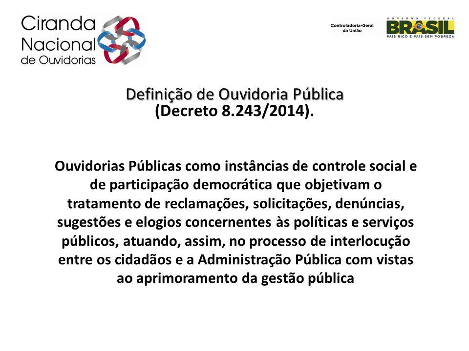 Definição de Ouvidoria Pública (Decreto 8.243/2014). Ouvidorias Públicas como instâncias de controle social e de participação democrática que objetiva