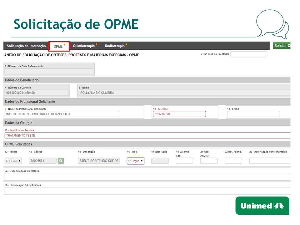 Solicitação de OPME