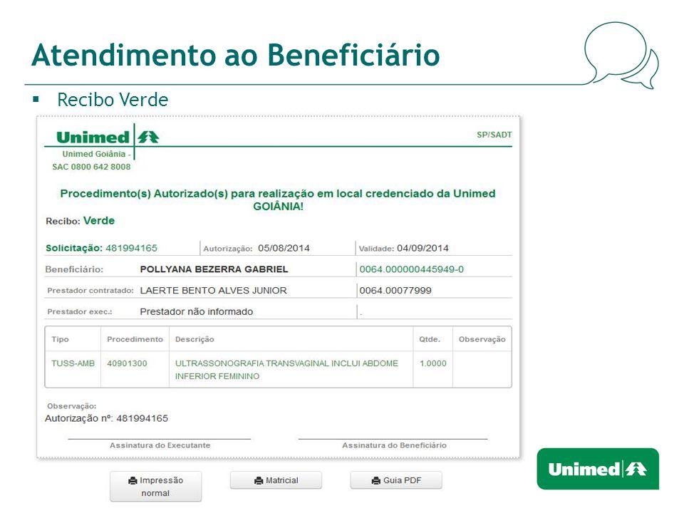 Atendimento ao Beneficiário  Recibo Verde