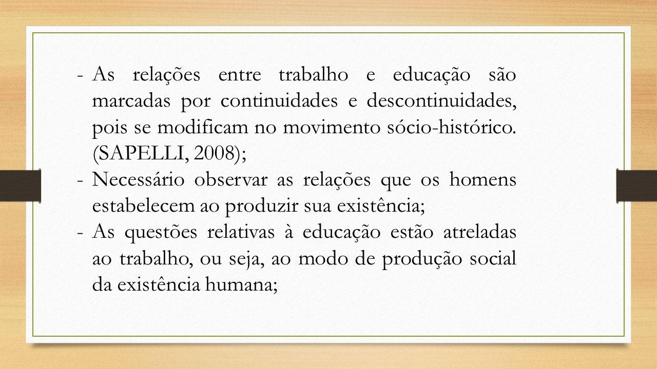 -As relações entre trabalho e educação são marcadas por continuidades e descontinuidades, pois se modificam no movimento sócio-histórico. (SAPELLI, 20