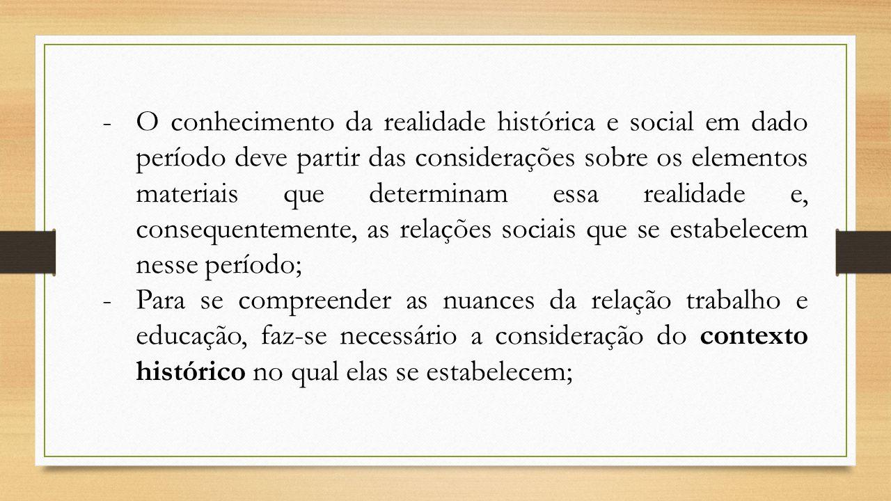 -O conhecimento da realidade histórica e social em dado período deve partir das considerações sobre os elementos materiais que determinam essa realida