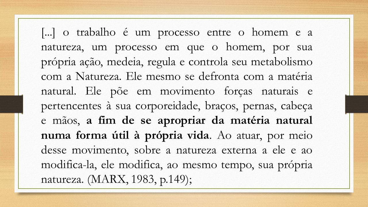 [...] o trabalho é um processo entre o homem e a natureza, um processo em que o homem, por sua própria ação, medeia, regula e controla seu metabolismo