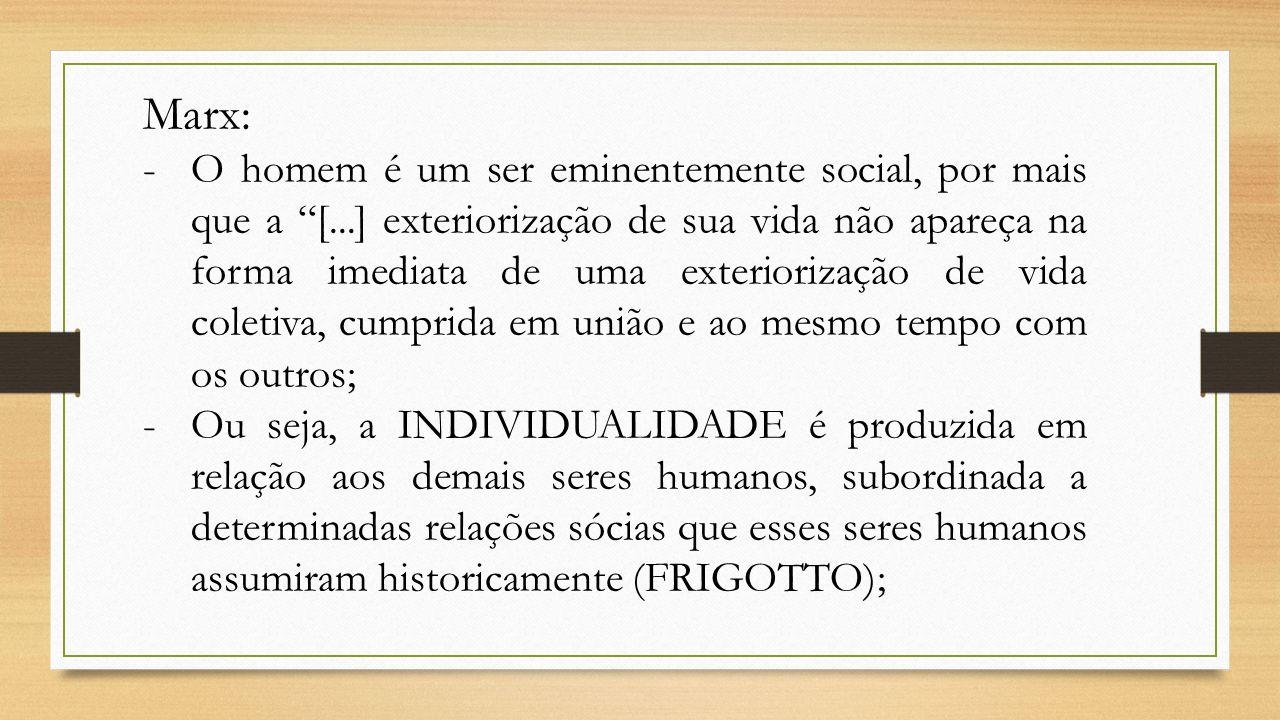 """Marx: -O homem é um ser eminentemente social, por mais que a """"[...] exteriorização de sua vida não apareça na forma imediata de uma exteriorização de"""