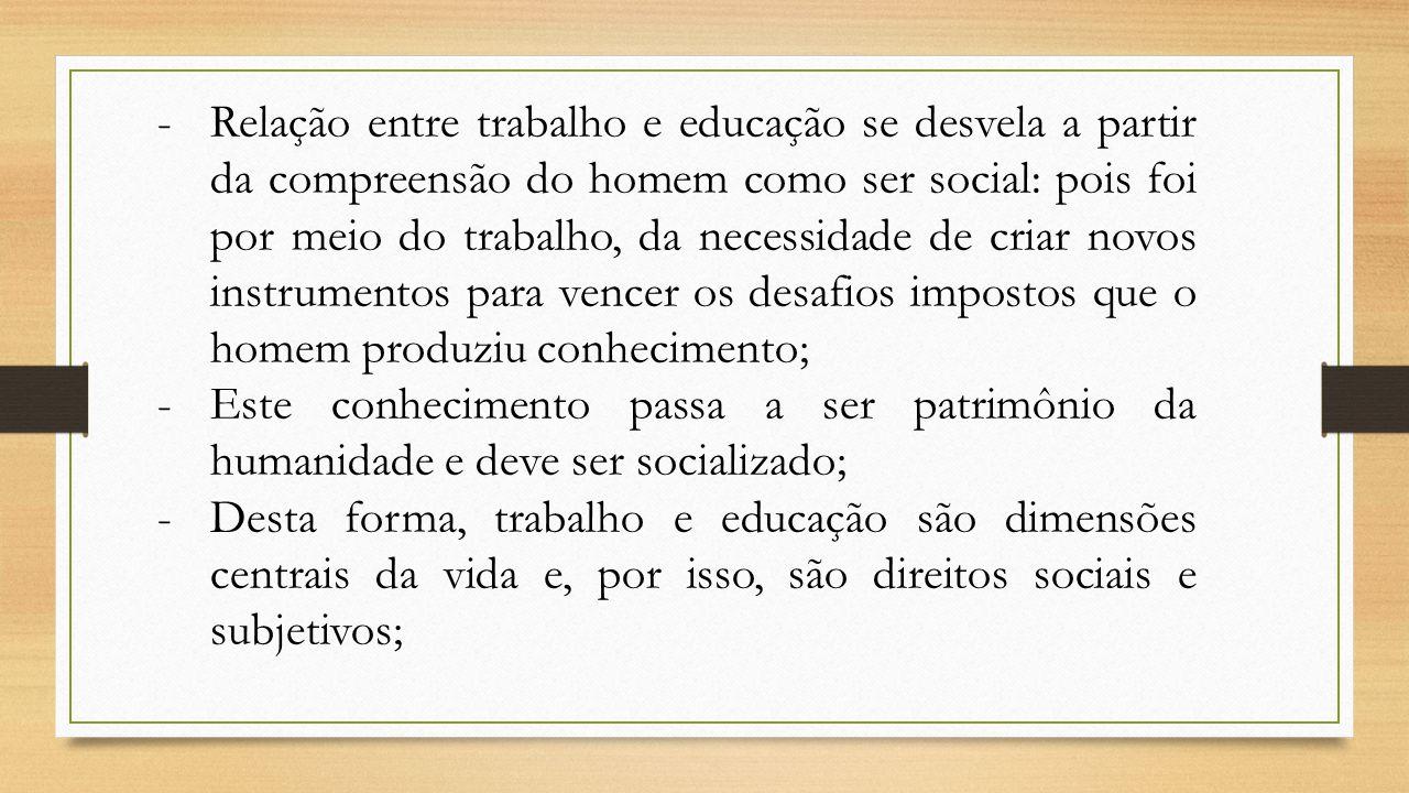 -Relação entre trabalho e educação se desvela a partir da compreensão do homem como ser social: pois foi por meio do trabalho, da necessidade de criar