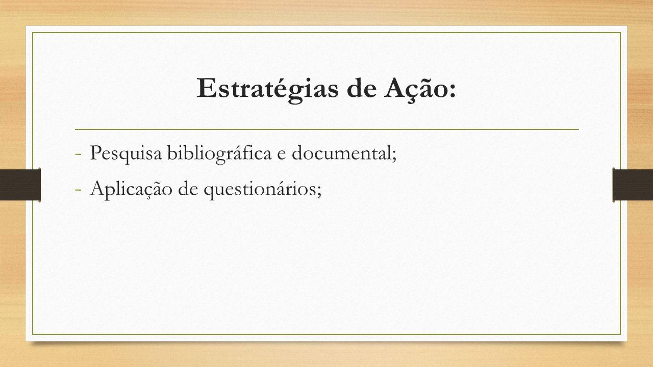 Estratégias de Ação: - Pesquisa bibliográfica e documental; - Aplicação de questionários;