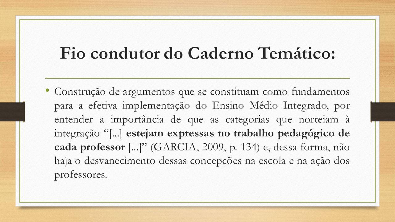 Fio condutor do Caderno Temático: Construção de argumentos que se constituam como fundamentos para a efetiva implementação do Ensino Médio Integrado,