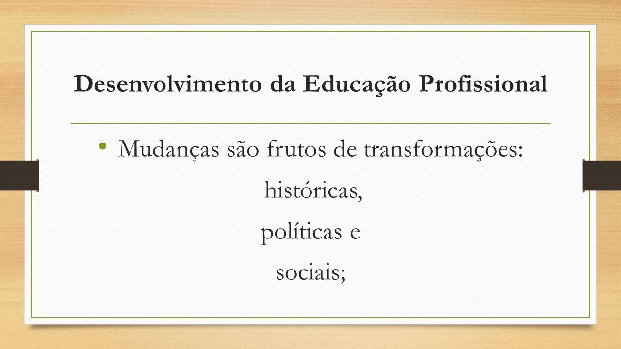 Desenvolvimento da Educação Profissional Mudanças são frutos de transformações: históricas, políticas e sociais;