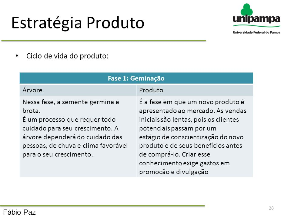 Estratégia Produto Ciclo de vida do produto: 28 Fase 1: Geminação ÁrvoreProduto Nessa fase, a semente germina e brota. É um processo que requer todo c