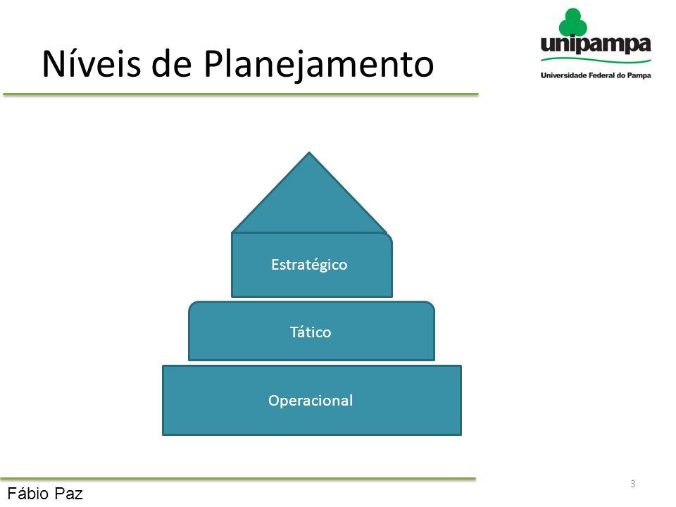 Níveis de Planejamento 3 Operacional Tático Estratégico Fábio Paz