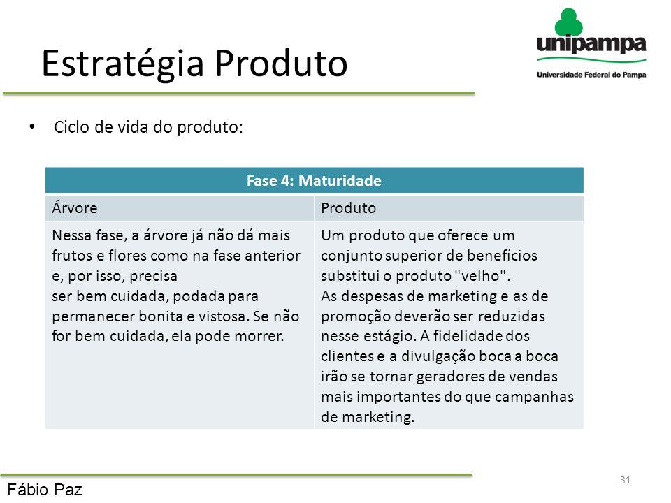 Estratégia Produto Ciclo de vida do produto: 31 Fase 4: Maturidade ÁrvoreProduto Nessa fase, a árvore já não dá mais frutos e flores como na fase ante