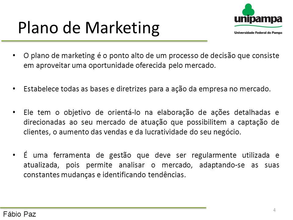 Plano de Marketing O plano de marketing é o ponto alto de um processo de decisão que consiste em aproveitar uma oportunidade oferecida pelo mercado. E