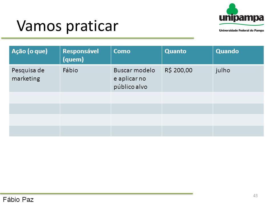Vamos praticar Ação (o que)Responsável (quem) ComoQuantoQuando Pesquisa de marketing FábioBuscar modelo e aplicar no público alvo R$ 200,00julho 43 Fá
