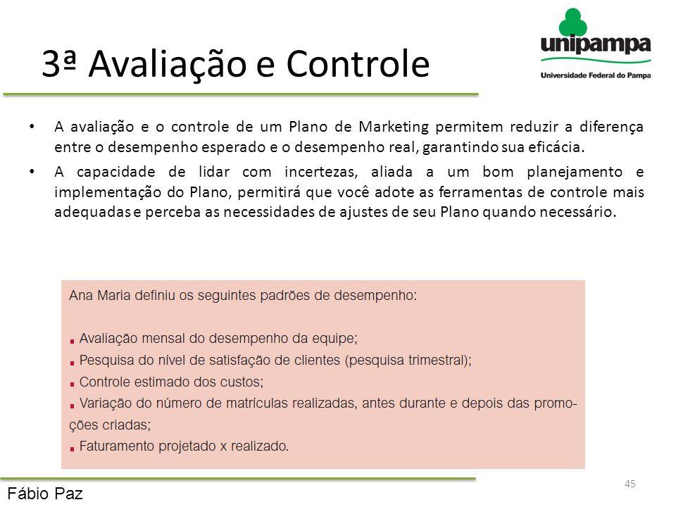 3ª Avaliação e Controle A avaliação e o controle de um Plano de Marketing permitem reduzir a diferença entre o desempenho esperado e o desempenho real